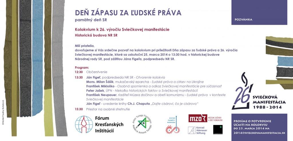 Pozvánka na kolokvium - Deň zápasu za ľudské práva 2014