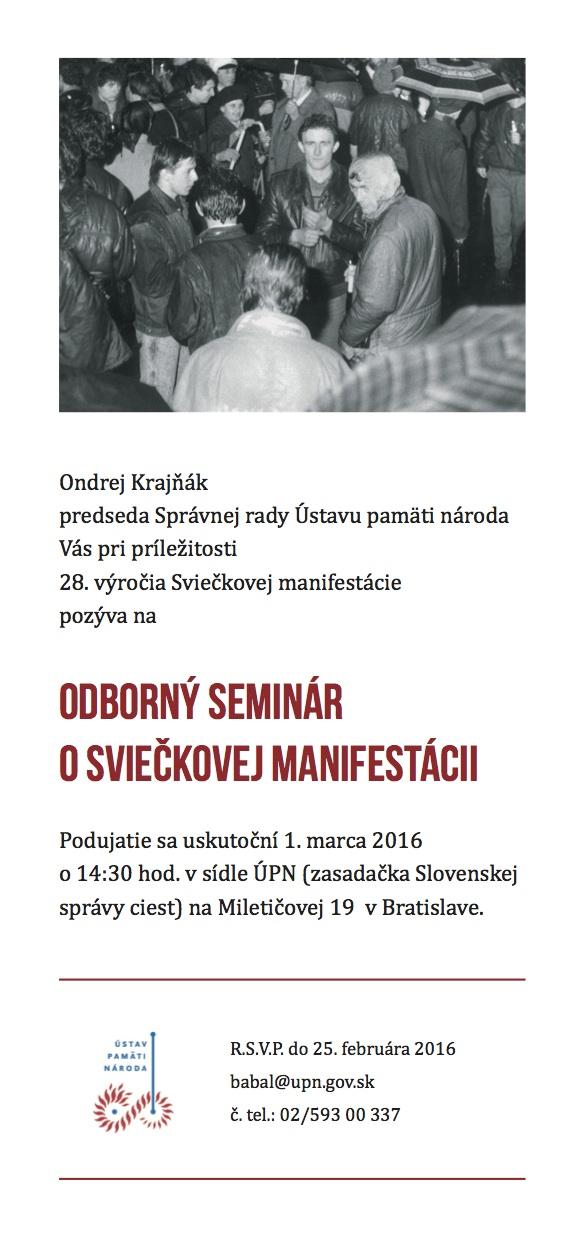 28 rokov od Sviečkovej manifestácie –  pozvánka na seminár