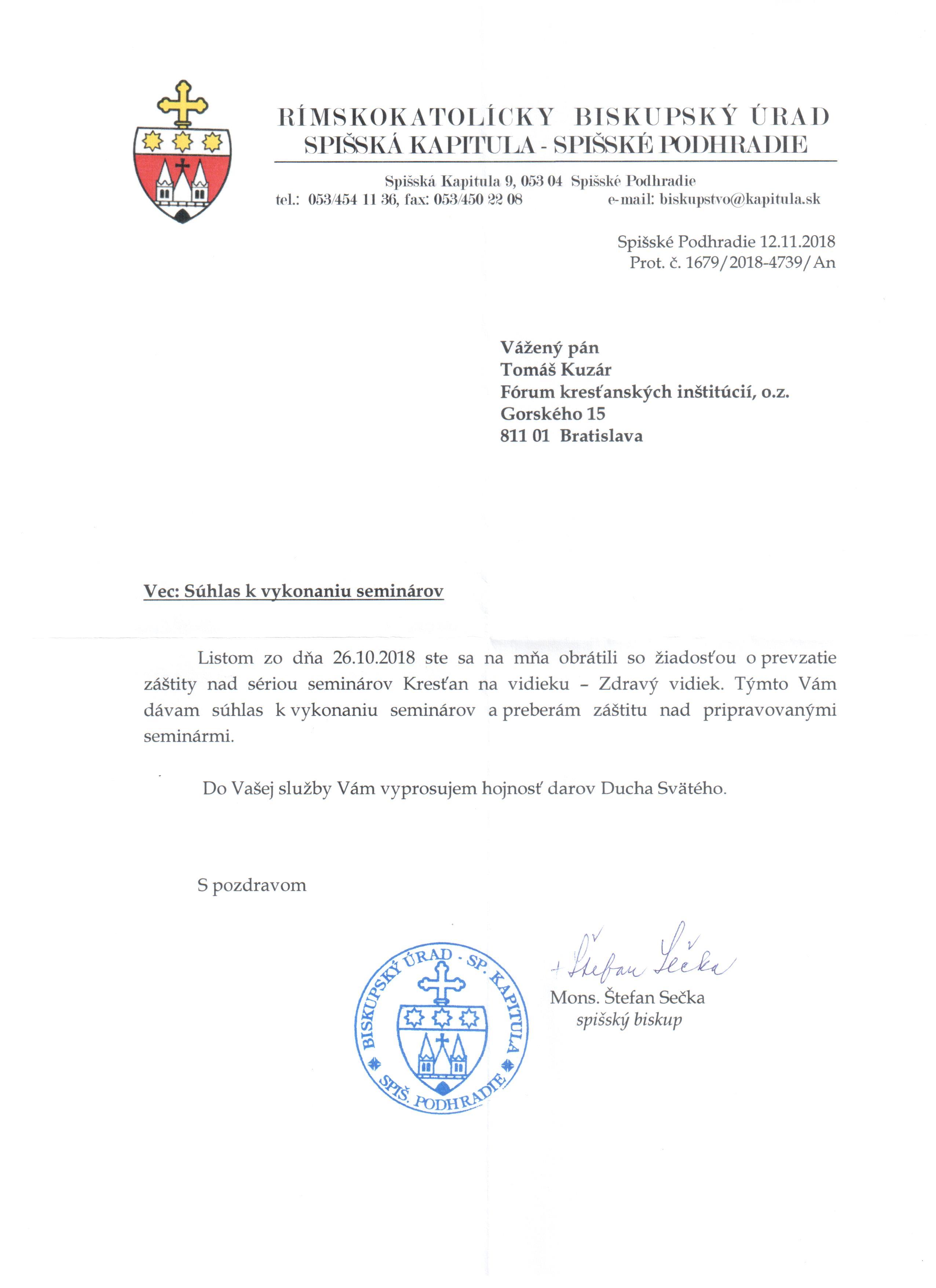 Otec biskup Štefan Sečka prebral záštitu nad seminármi Kresťan na vidieku