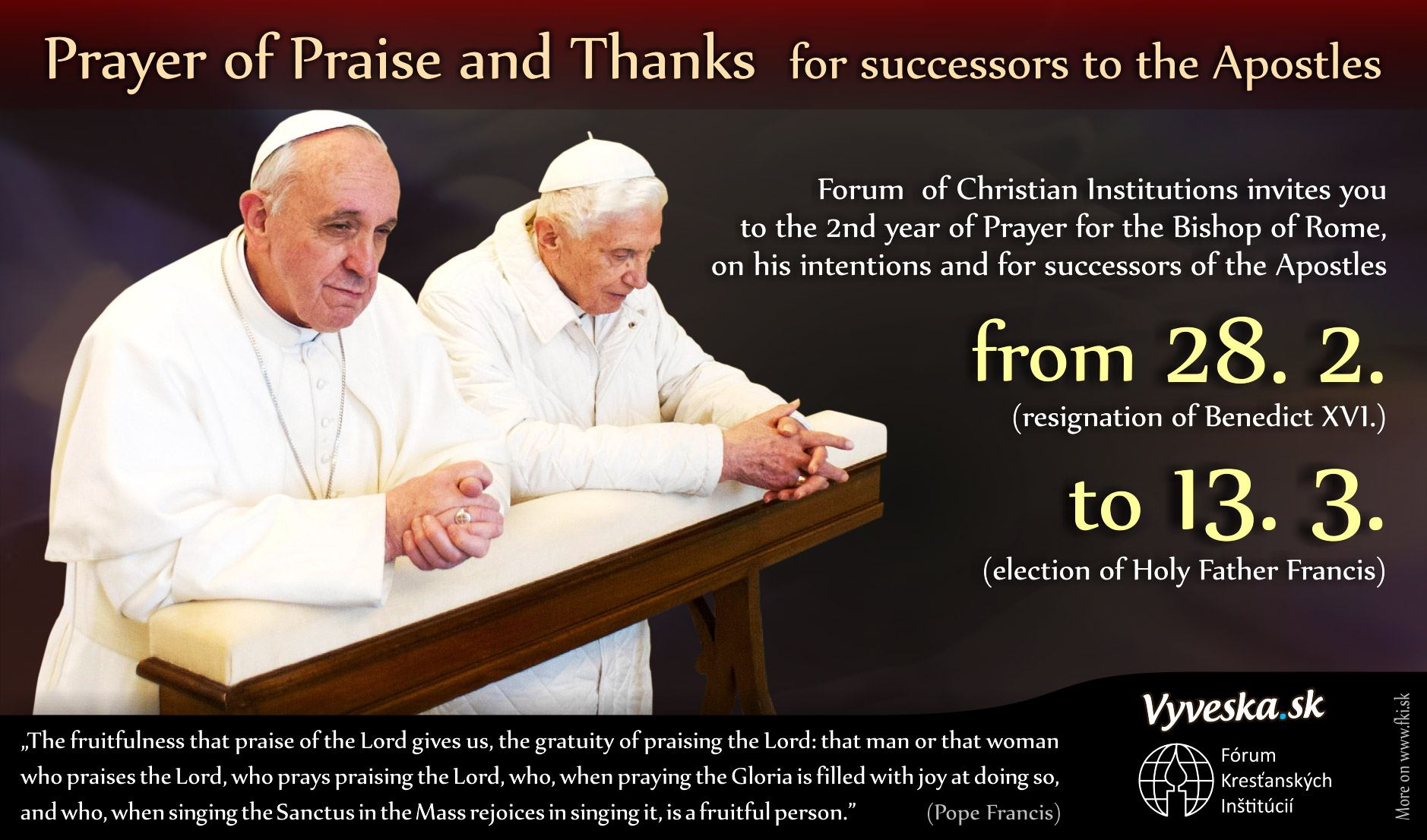 Prayer of praise and thanks for the successors of the Apostles