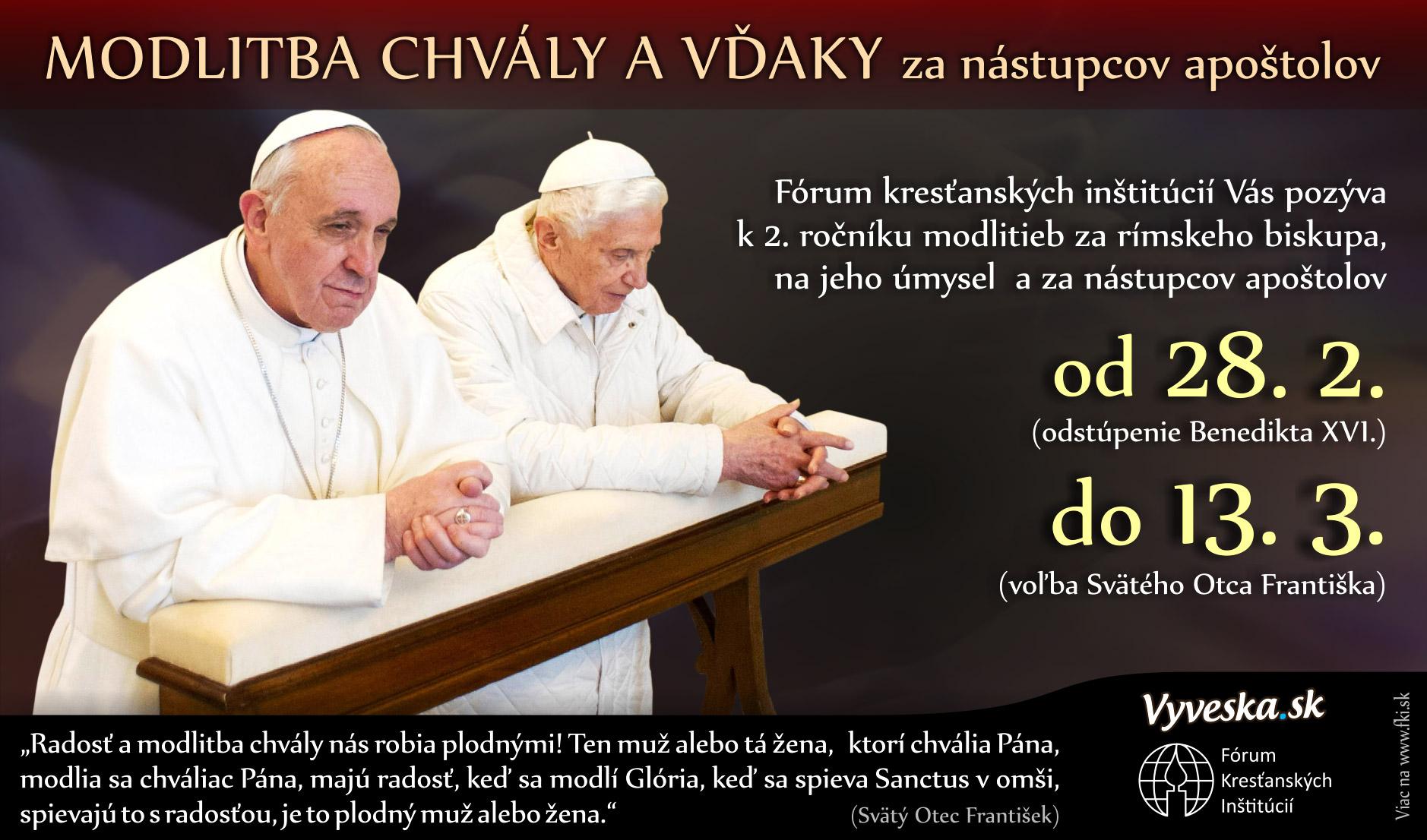 Modlitba chváli a vďaky za nástupcov apoštolov