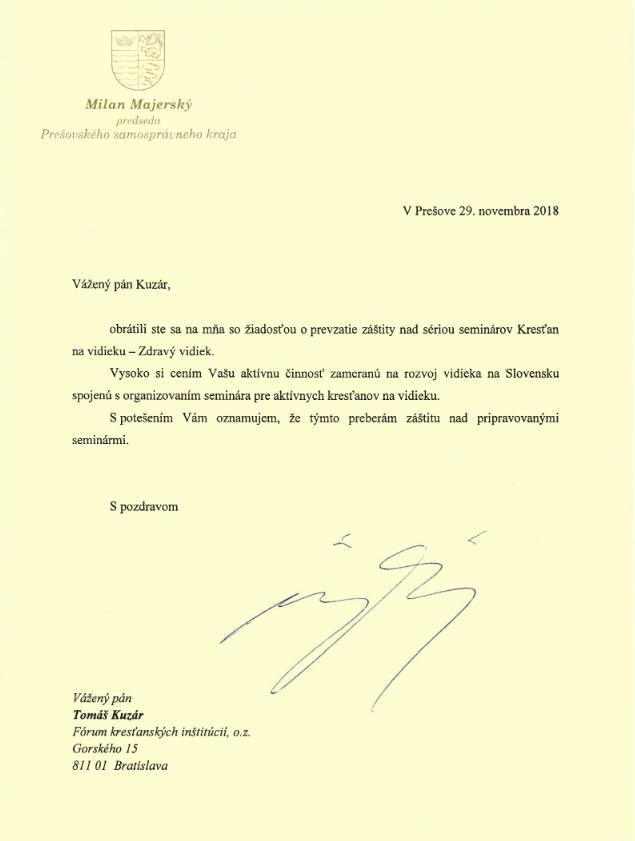 Prešovský župan Milan Majerský prebral záštitu nad seminármi Kresťan na vidieku